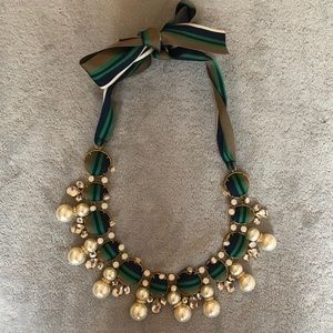 Tory Burch Jeweled and Grosgrain Necklace